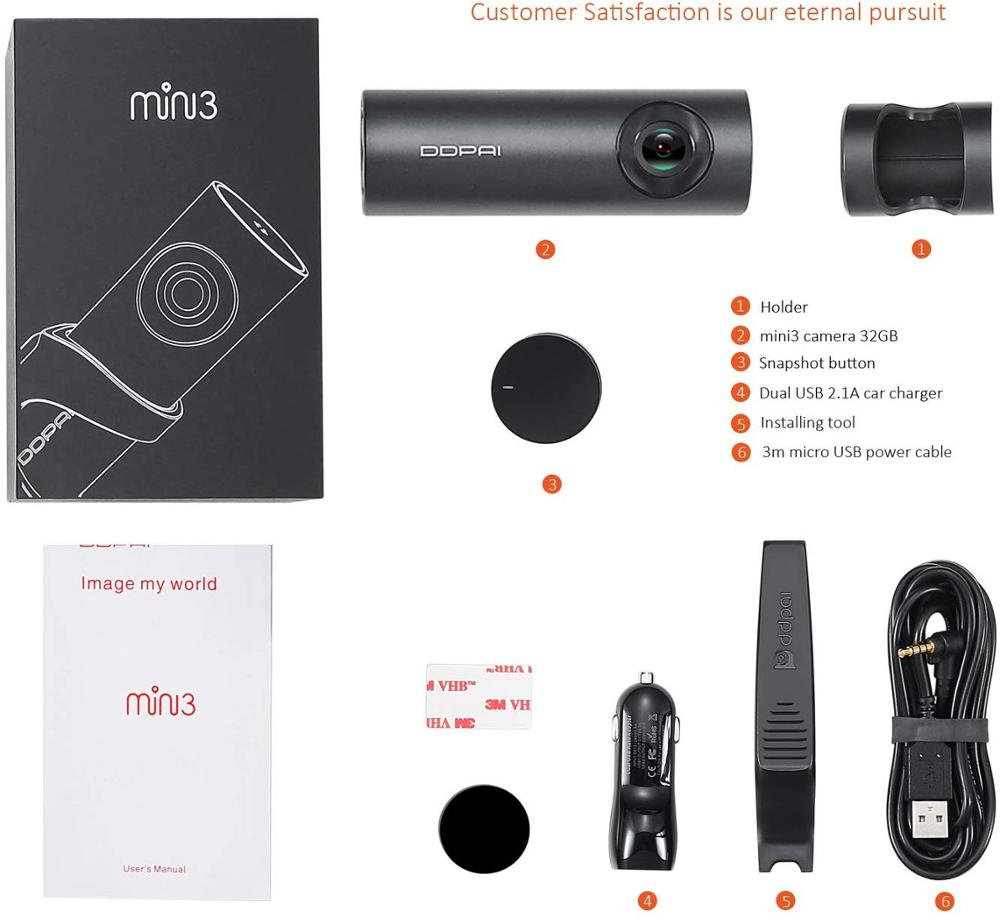 DDPai Mini3 1600P Full HD Dash Cam WiFi 32G Car DVR with WDR G sensor 24H Park Loop Recording Drive Recorder - 6