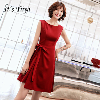 Prom Dresses It's Yiiya AR340 Elegant O-neck Knee Length Dress Tie Bow Burgundy Vestido De Gala Ruched Zipper Party Gowns - discount item  37% OFF Special Occasion Dresses