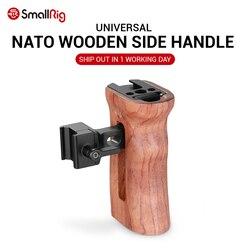 SmallRig lustrzanka cyfrowa drewniany uchwyt rękojeści Quick Release NATO uchwyt boczny z mocowaniem na zimno 1/4 3/8 otwory gwintowe 2187