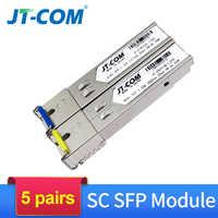 5 pair 1Gb SC 5KM/20KM SFP Module Gigabit Optical Single Mode Single Fiber Transceiver Compatible with Cisco Ethernet Switch