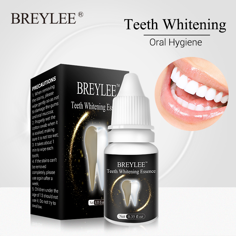 BREYLEE Teeth Whitening Essence Oral Hygiene Cleaning Serum White Gel Teeth Care Tooth Bleaching Dental Tools Perfect Smile 10ml