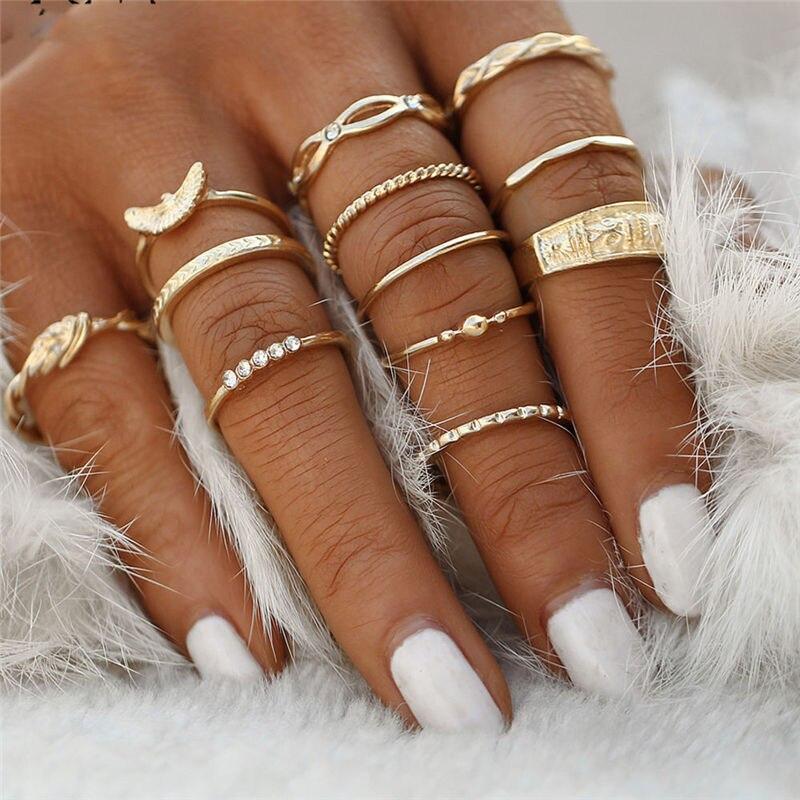 SexeMara 12 pc/set Charm Gold Color Midi Finger Ring Set for Women Vintage Boho Knuckle