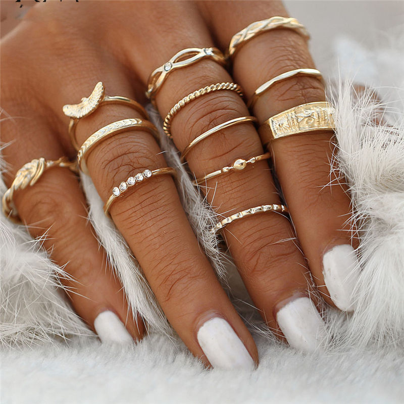 SexeMara 12 pc/set Charm Gold Color Midi Finger Ring Set for Women Vintage Boho Knuckle Party Rings Punk Jewelry Gift for Girl