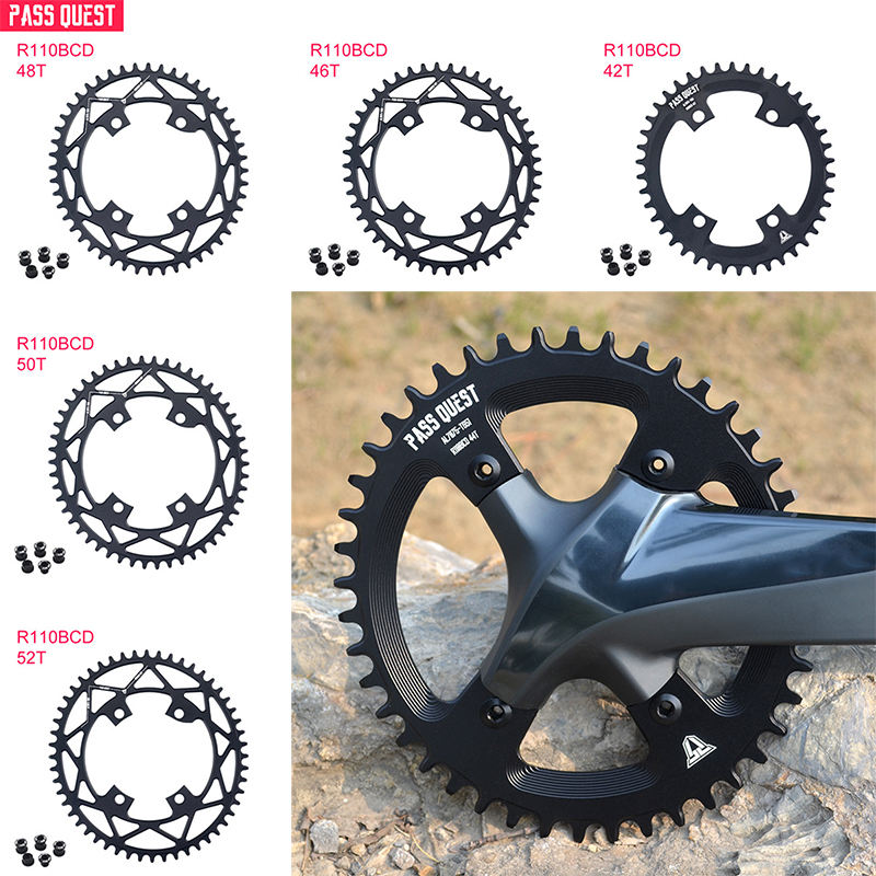 Bicycle Round Narrow Wide Chainring MTB Mountain bike bicycle <font><b>110BCD</b></font> 42T/44T/46T/48T/<font><b>50T</b></font>/52T crankset Tooth plate Parts image