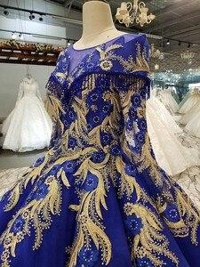 Image 4 - BGW 22010ht Royal Blau Abendkleid Oansatz Lange Tüll Ärmeln Bodenlangen Abendkleid Party Kleid Mit Glänzenden Spitze China Großhandel