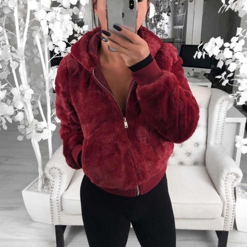 Hangat Bulu Berkerudung Mantel Wanita Jaket Luaran 2019 Ritsleting Musim Gugur Musim Dingin Hoodies Mantel Dasar Wanita Jaket Chaqueta Mujer