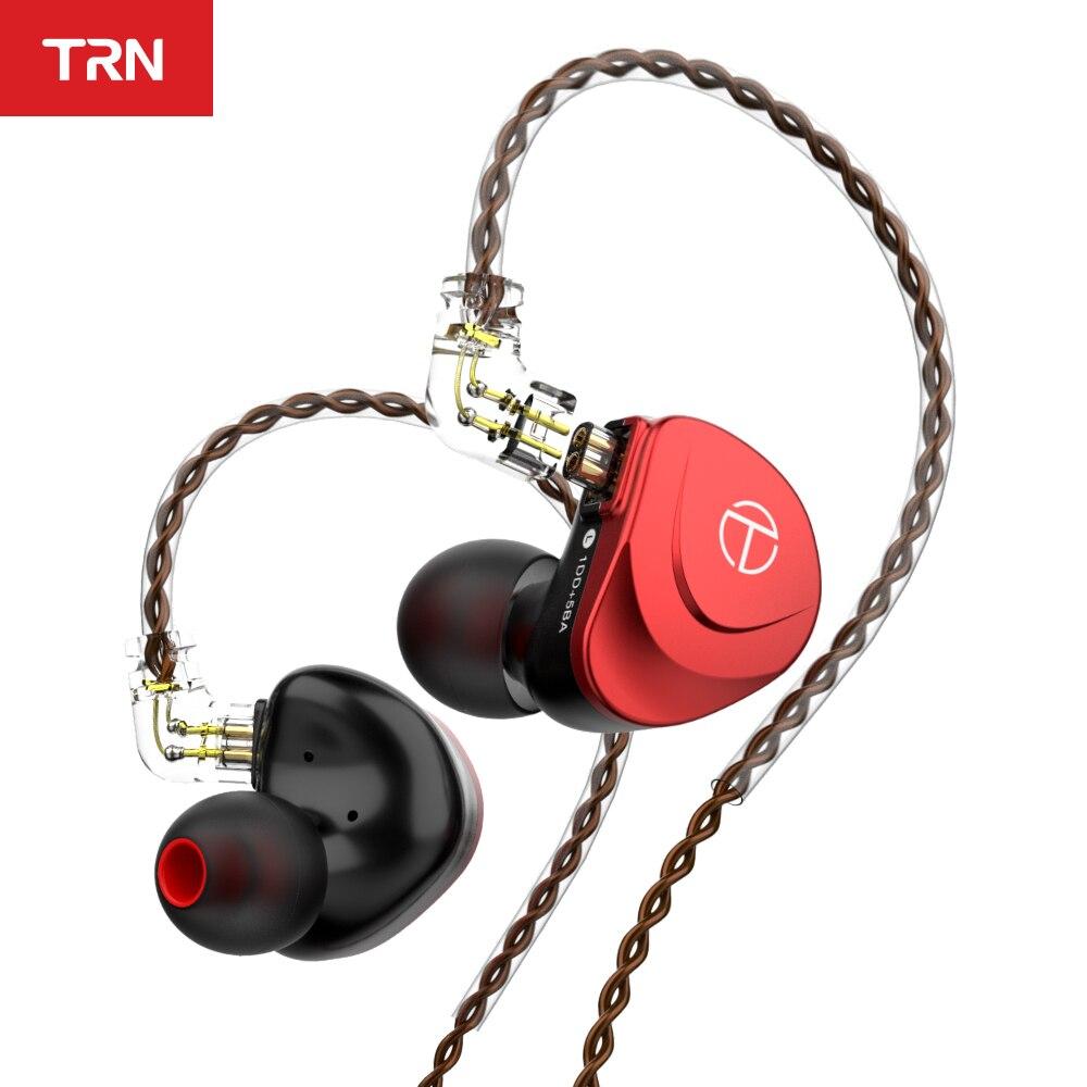 Trn v90s occ cabo de cobre puro 5ba + 1dd metal fone ouvido híbrido alta fidelidade graves fones de ouvido no monitor ruído com cancelamento