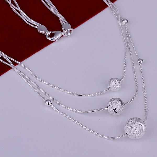 N220 Hot Sale Fine 925 Jewelry Plated Wholesale Factory Price 925 Charms Free Shipping Fashion Triple Line Of Beans Necklaces