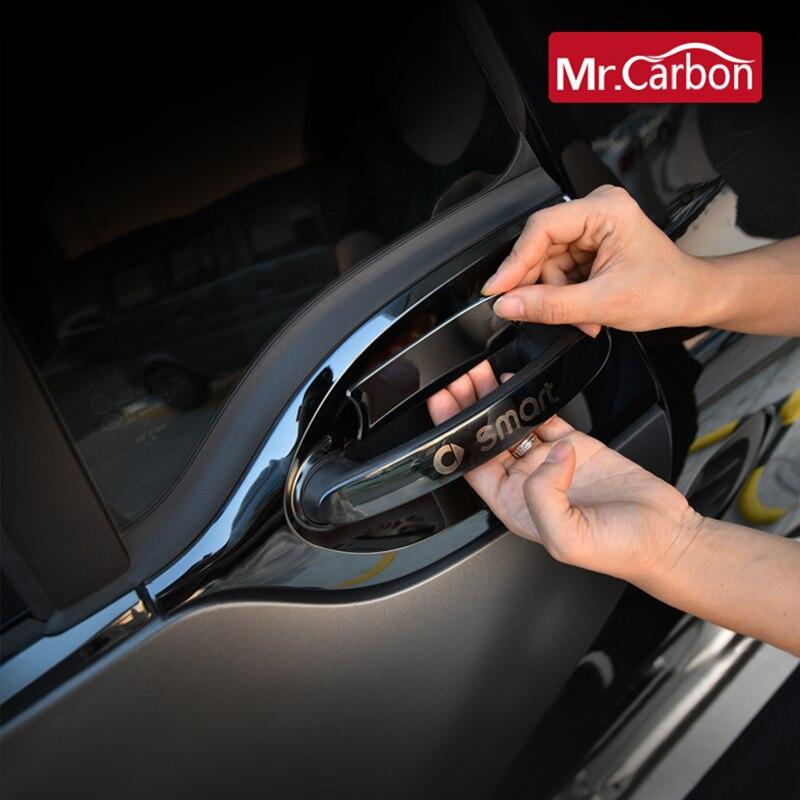 Porta do carro alça exterior decoração tira exterior capa de proteção adesivo acessórios para mercedes smart fortwo 453