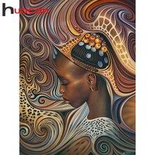 Huacan 5d elmas boyama yeni gelenler afrika kadın mozaik portre elmas sanat tam matkap el yapımı hediye