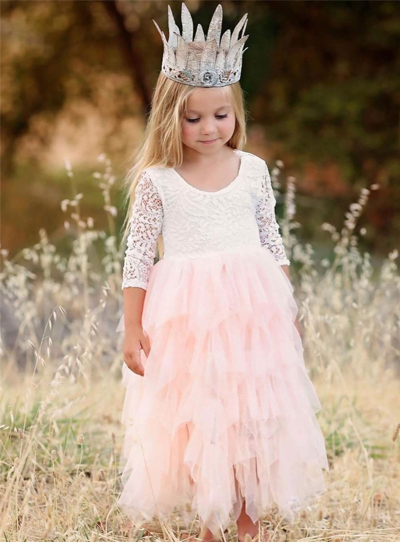 Toddler Kids Baby Girls Summer White Dresses Long Sleeve Party Prom Costume Girl Pageant Dancing Frocks Lace Tutu Layered Dress 4