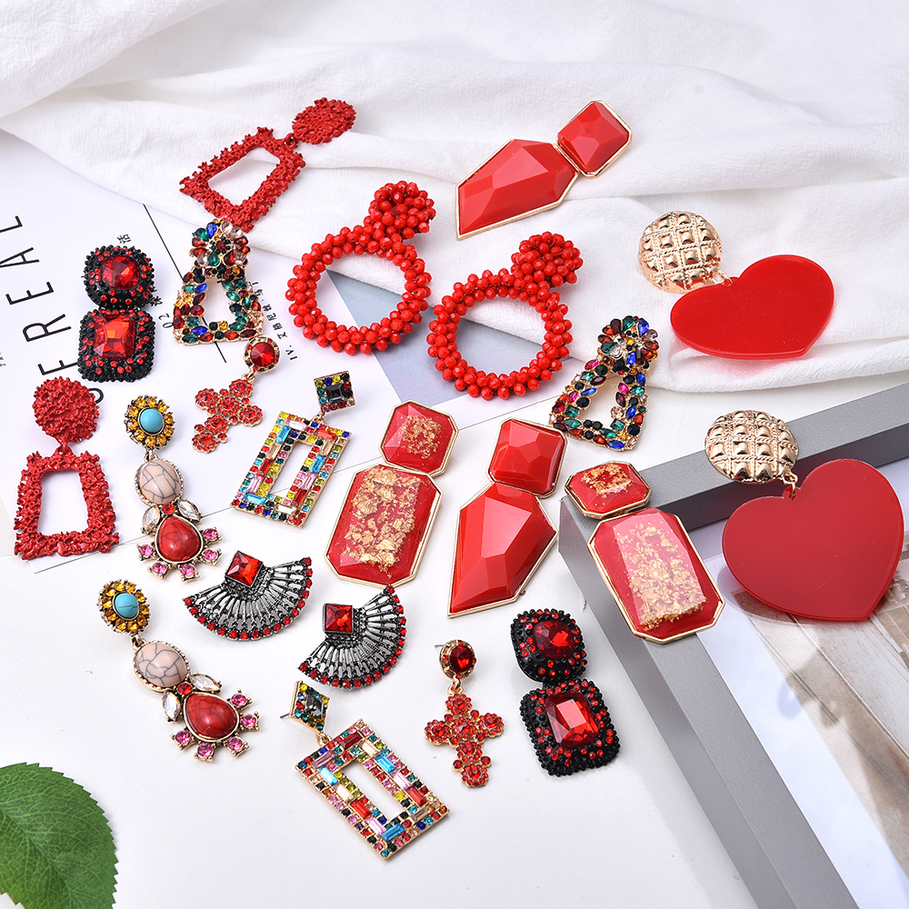 Ztech Red Pendant Za Earrings 2020 Handmade Resin Flower Crystal Beads Statement Bridal Earring Party Dangle Drop Earrings Gift