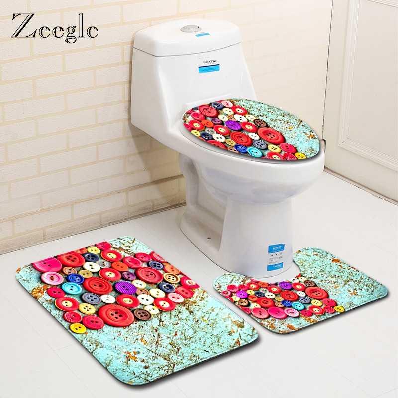 Zeegle Creative Heart maty do kąpieli zestaw flanelowy dywan łazienkowy antypoślizgowe dywany łazienkowe dywaniki do toalety mata podłogowa zmywalna mata do prysznica