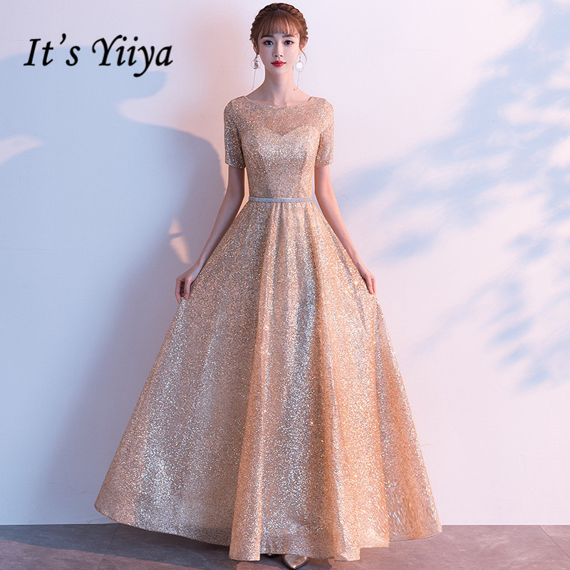 It's Yiiya O-Neck Evening Gown Short Sleeve Plus Size A-Line Evening Dresses For Women Sequined Lace Up Evening Dress 2020 K171