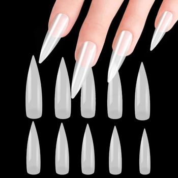 100 unids/bolsa a 500 unids/bolsa de Arte de uñas de bailarina puntas de Arte de ataúd falso puntas de Arte de manicura con uñas falsas de forma plana