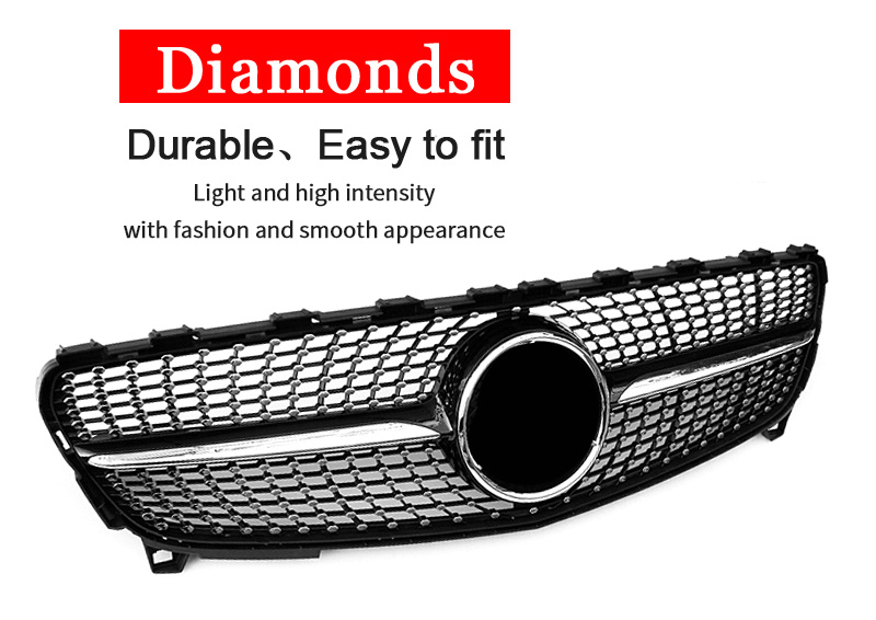 W176 Diamond Grille ABS Glossy Black Fit For MercedesMB AClass A180 A200 A250 Grilles Without Emblem Badge Replacement 16 18 in Racing Grills from Automobiles Motorcycles
