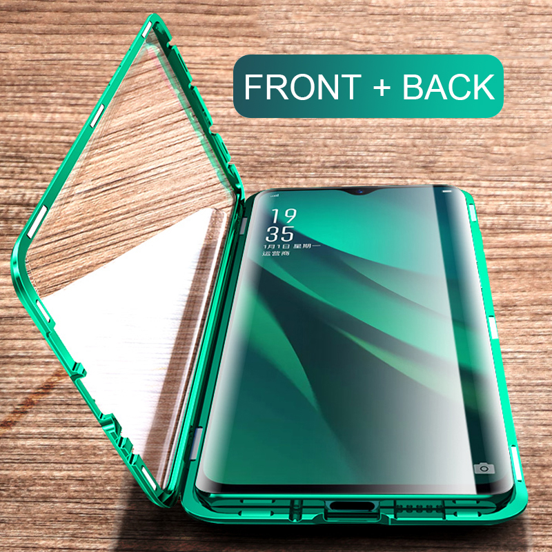 Tempered Glass Case For Oppo Realme 5 Pro 360 Full Cover Magnetic Flip Case on realme Q A5 A3s realme5 pro 6.3' Mirro Phone Case image