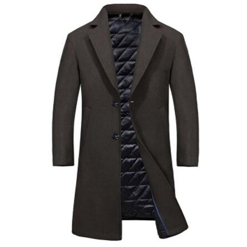 Одежда высшего качества из смески шерсти мужская куртка, пальто брендовая 2017 парка осенне зимние пальто мужской теплая длинная верхняя оде... - 3