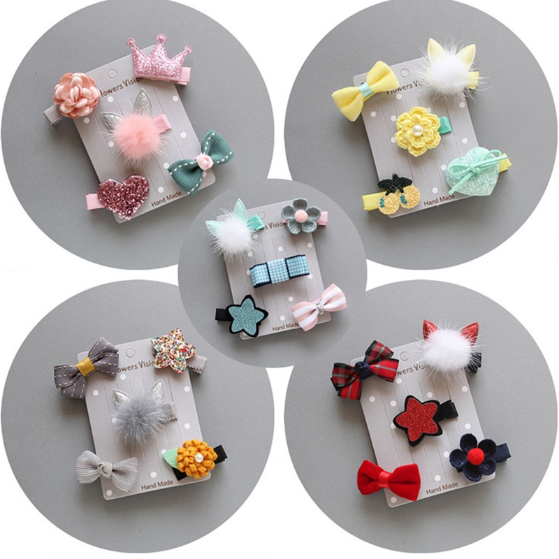 5Pcs Baby Cute Hairpin Barrettes Children Girl Sweet Hairclip Bownot Flower Star Combination Bobby Pin Infant Head Accessories
