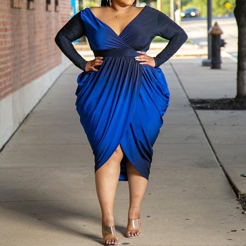 3XL 4XL 5XL Plus Size Gradient Blue Sexy Party Dress Women Big High Waist Female Evening Dinner Pleated Long Sleeve Dresses Fall