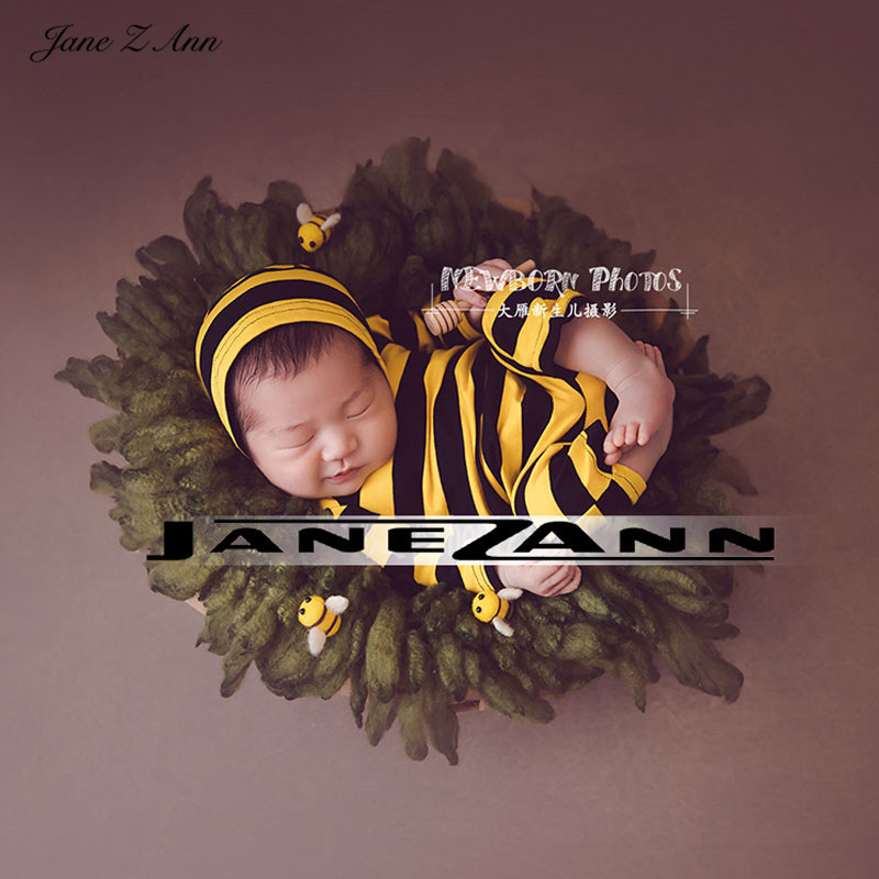 Jane Z Ann Baby Bee Costume Hat With Felt Bee Honey Stick creative Theme Photo Props studio shooting accessories 1