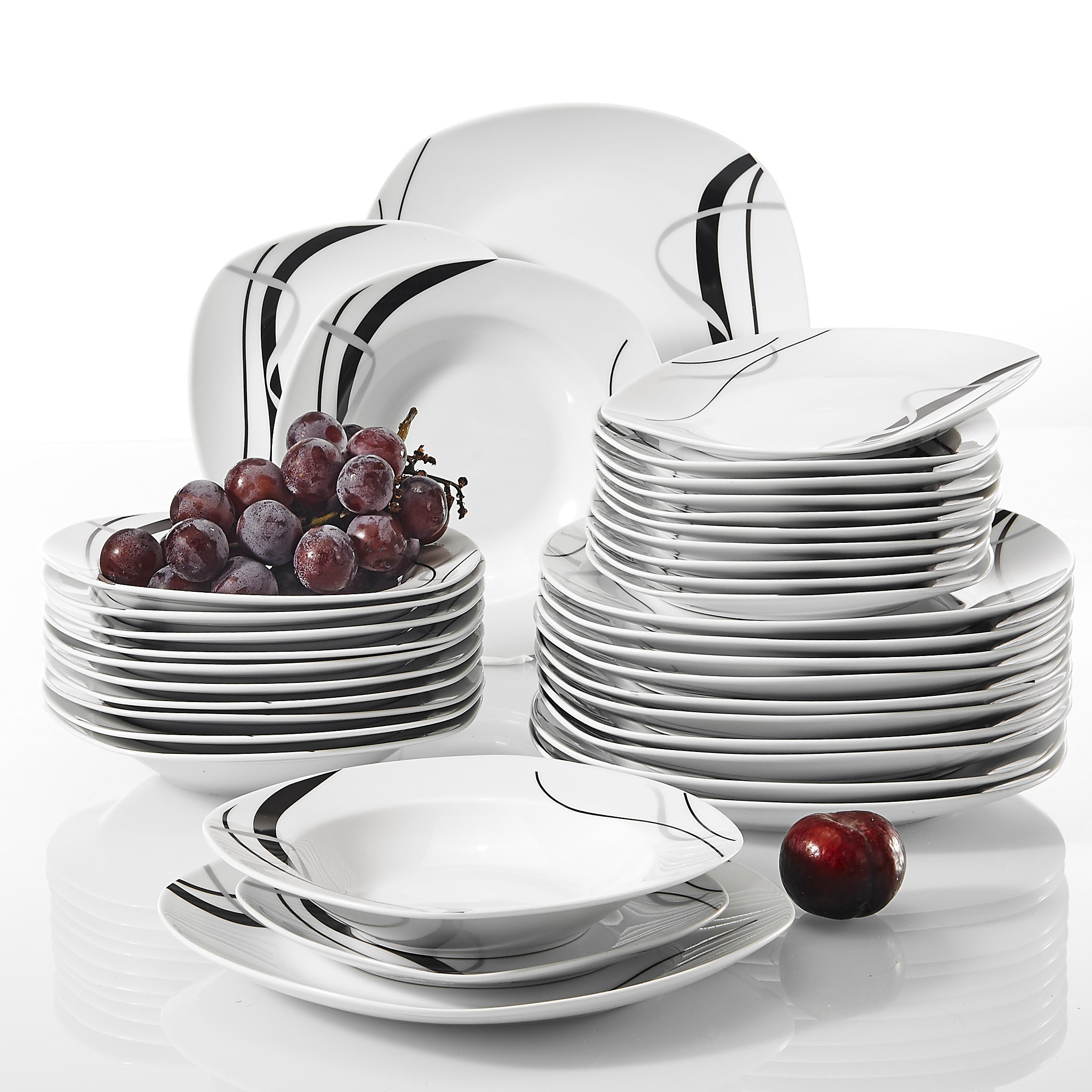 US $8.8 8% OFFVEWEET FIONA 8 Piece Porcelain Ceramic Black Line  Kitchen Tableware Dishes Plate Set with Dinner Plate,Dessert Plate,Soup