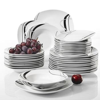 VEWEET FIONA 36-sztuka porcelany ceramiczne czarna linia zastawa stołowa do kuchni naczynia zestaw talerzy z płytki talerz talerzyk deserowy talerz zupy tanie i dobre opinie MALACASA CN (pochodzenie) Taśmy ROUND FIONA04X2