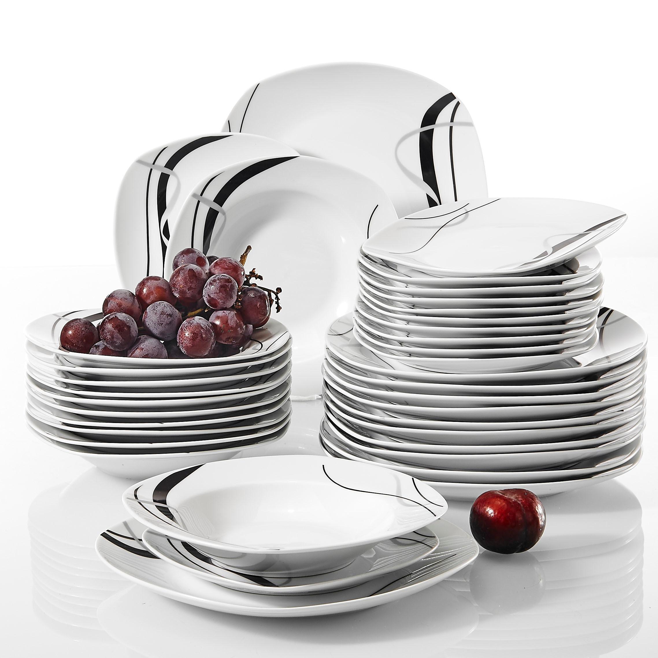 VEWEET FIONA vaisselle de cuisine en céramique | Porcelaine, 36 pièces ligne noire, service de vaisselle avec assiette à dîner, assiette à Dessert, assiette à soupe