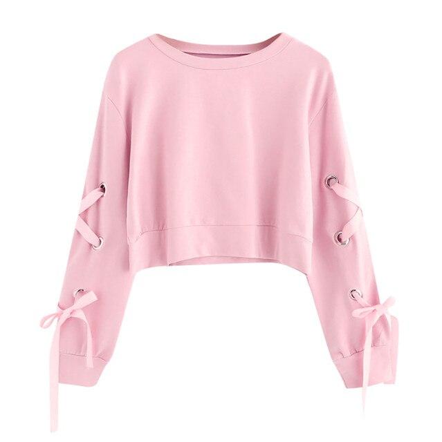 Women Crop Top Hoodie Casual Lace Up Long Sleeve Pink Bandage Pullover Cropped Top Sweatshirt Sweat Korean Femme Streetwear 1