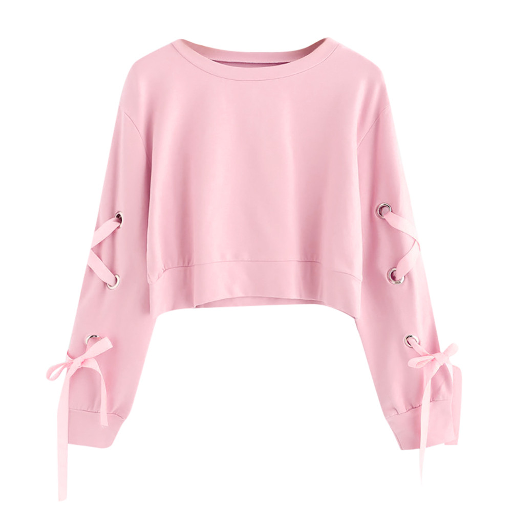 Women Crop Top Hoodie Casual Lace Up Long Sleeve Pink Bandage Pullover Cropped Top Sweatshirt Sweat Korean Femme Streetwear