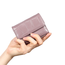 8PCS / LOT Crocodile Hologram Leather Credit Card Holder Purse with RFID Protector Small Zip Around Women Walletn