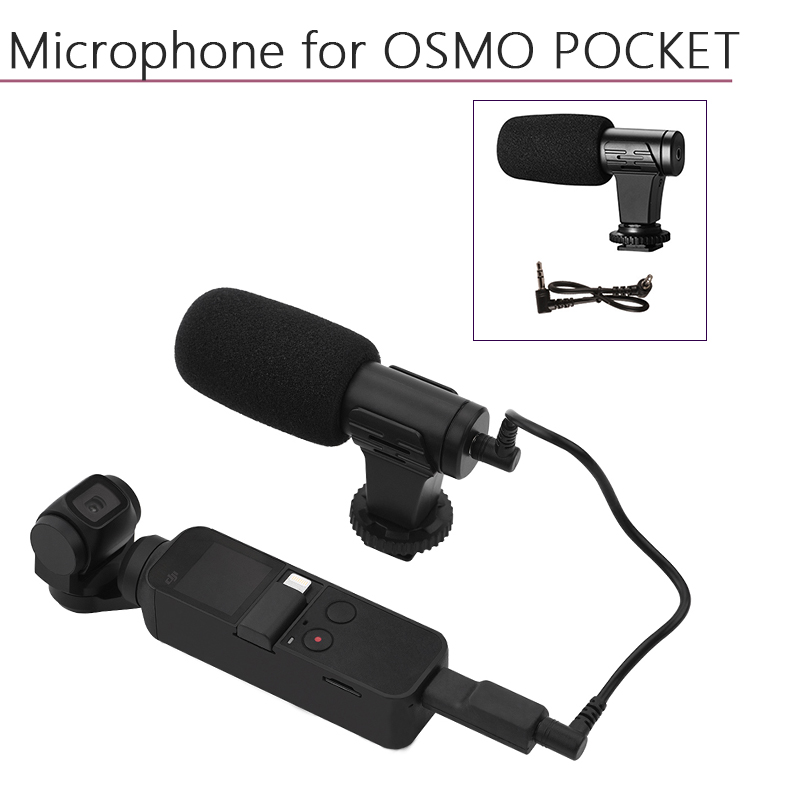 Portable 3.5mm Microphone For DJI Osmo Pocket For Audio Adapter With Data Cable Connector Handheld Gimbal Camera Accessories