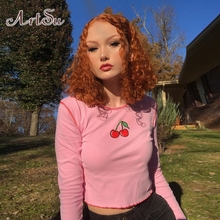 ArtSu Cherry Pink Cute Casual Cotton Woman Tshirt Tops Long Sleeve Crop
