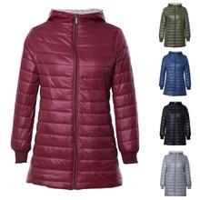 Sfit Женский Повседневный зимний теплый вельветовый джемпер с капюшоном из овечьей шерсти, куртка с капюшоном, верхняя одежда, пальто, легкий однотонный длинный пуховик