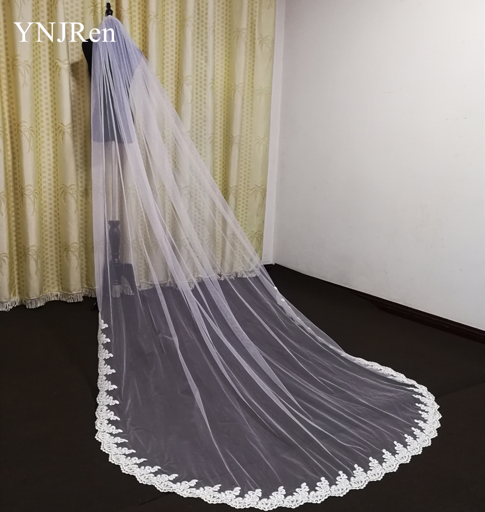 Real Photos one layer Lace Edge White Ivory Cathedral Wedding Veil Long Bridal Veil Cheap Wedding Accessories