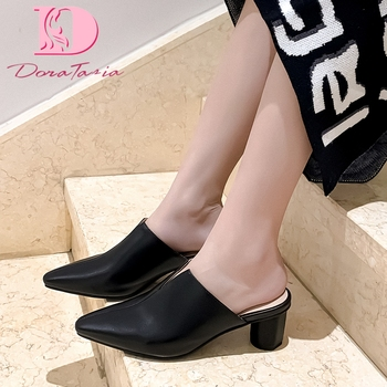 Doratasia Hot Sale 2020 Genuine Cow Leather Chunky Heels Summer Shoes Woman Pumps Mules Slip-On Concise Pumps Mules Women