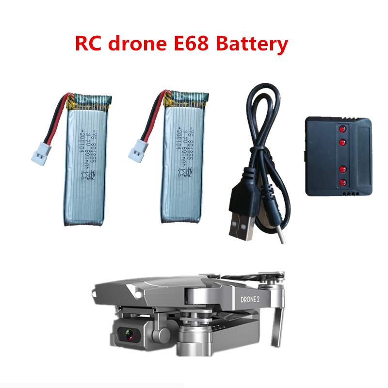 E68 Mini Drone Spare Part 3.7V  800mAh Lithium Battery And Charger