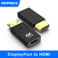 Anmck 4k Displayport to HDMI Adapter Male DP to HDMI Female Video Audio UHD Converter for PC Projector Displayport to HDMI 4K