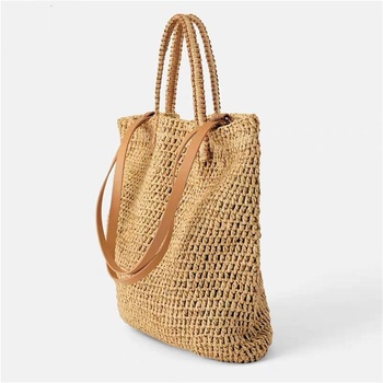 New Handbag Straw Bags  Handmade Rattan Woven Hollow Bag Women Large Capacity Totes Summer Bohemia Vacation Shoulder