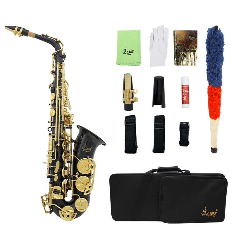 SLADE Eb Alto Saxophone Brass E Flat Sax 82Z Key Type Woodwind Instrument with Case Brush Cloth Gloves