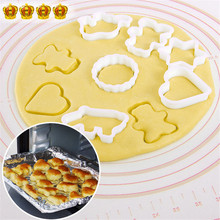 6PC Plastic Cookie Sugar Crafts Mold Cartoon Animal Cake Moulds Cookie Cutter Stamp Pineapple Cake Kitchen Baking Mould Tools