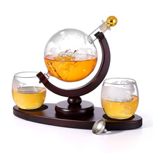 Whiskey Decanter Globe Set with 2 Etched Globe Whisky Glasses - for Liquor, Bourbon, Vodka - 850Ml. whiskey whisky