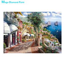 harbour town scenic Moge Diamond Painting Full Round New DIY sticking drill cross stitch 5D embroidery simple home decorative