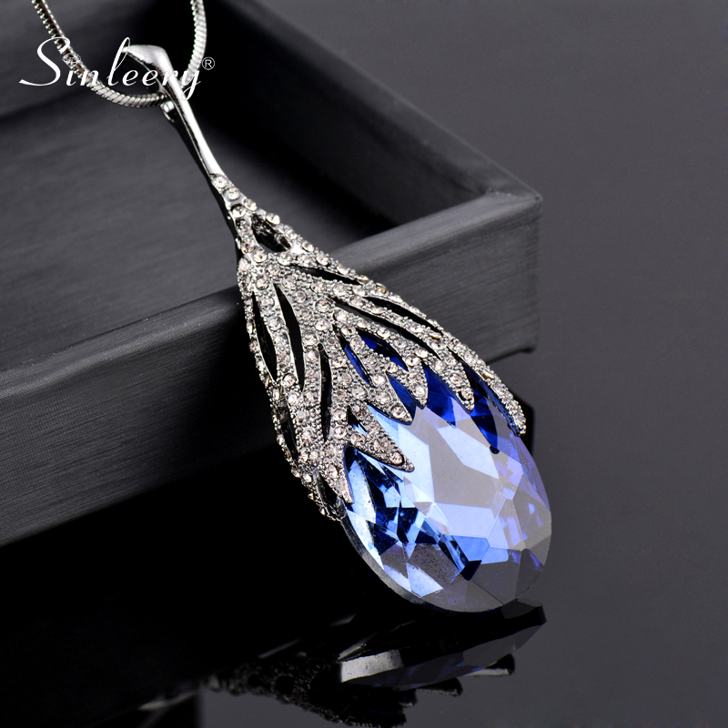 SINLEERY Fashion Waterdrop Shaped Big Pendant Necklace With Blue Cubic Zirconia Jewelry For Women Clothes Accessories MY117 SSO(China)