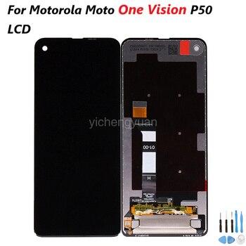 Перейти на Алиэкспресс и купить Оригинальный для Motorola Moto One Vision P50 XT1970 ЖК-дисплей сенсорный экран Сенсорное стекло дигитайзер сборка бесплатные инструменты