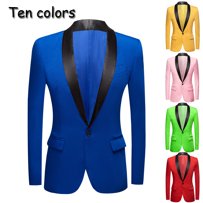 New Yellow Pink Blue Red Apple Green Colorful  Wedding Prom Groom Tuxedo   Men's Suit Jacket  Stage Singer Prom Slim Fit Blazers