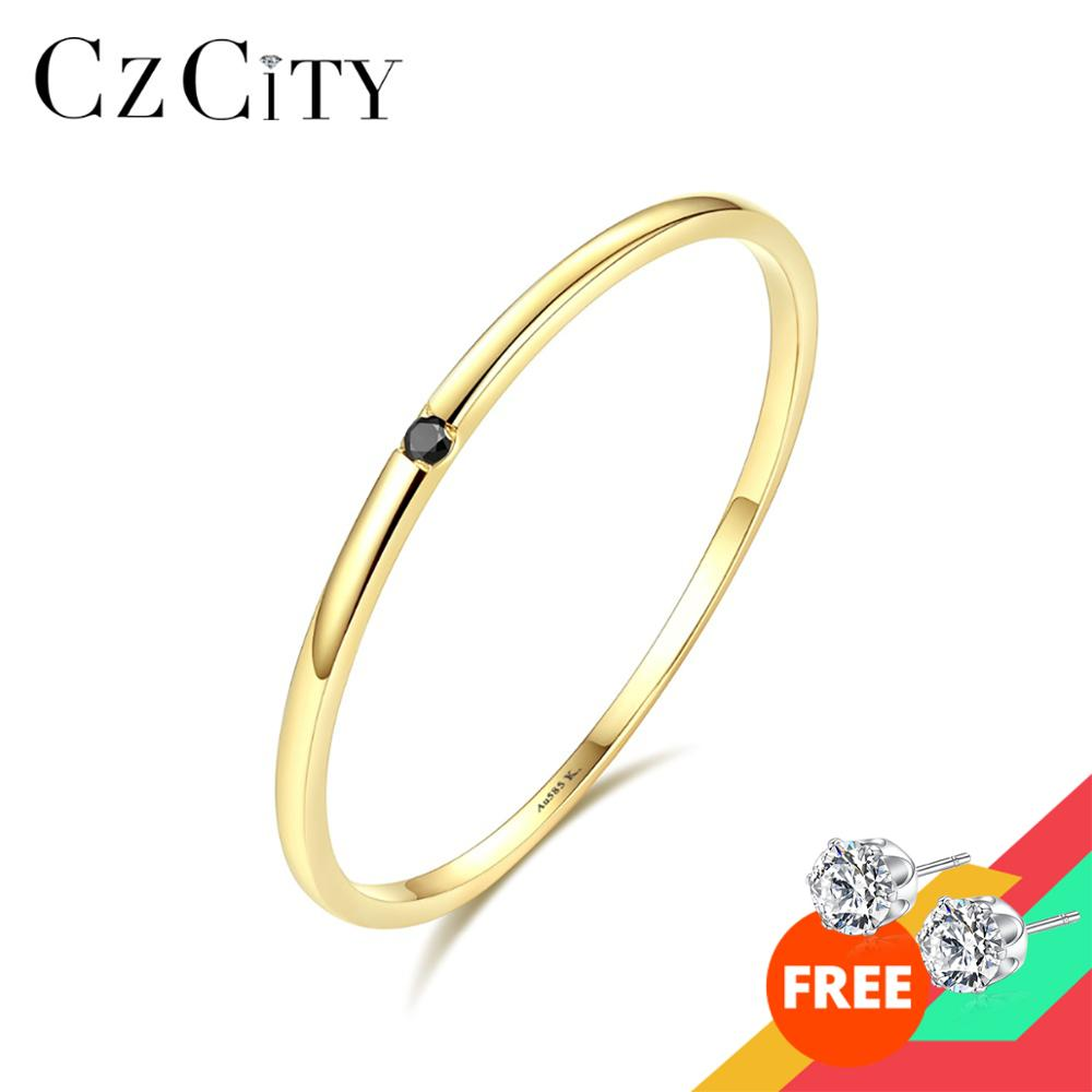 CZCITY 100% 14K Yellow Gold Petite Black Cubic Zircon Wedding Rings for Women Simple Thin Circle Bands Ring Fine Jewelry Bijoux