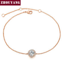 ZHOUYANG Bracelet For Women Round Cut Micro Mosaic Cubic Zirconia Rose Gold Color & Silver Color Jewelry ZYH165 ZYH101(China)