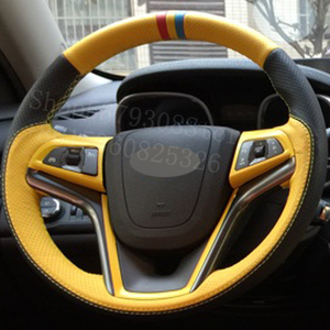 Para Chevrolet Corvettes 2014-2020 Stingray Premiere fibra de carbono negro cuero cosido a mano protector para volante de coche