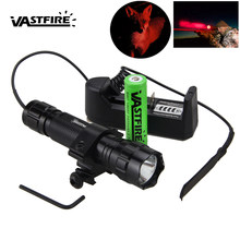 5000lm XM-L Q5 Led 501B Red Hunting Weapon Light Tactical Scout Flashlight+Rifle Scope Airsoft Mount+Remote Switch+18650+Charger(China)